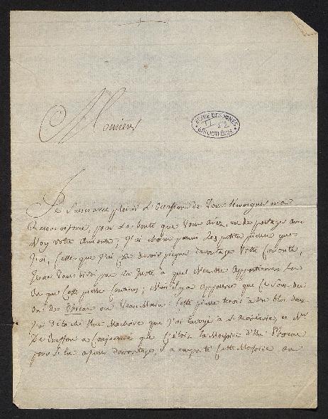 Lettre où il est question d'une pierre qui contient des os de phoque ou «veau marin» et du système sur la formation de la terre de Buffon