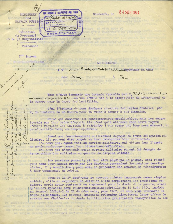 Lettre du ministre des Travaux publics à M. Kuss, directeur de l'Ecole nationale supérieure des mines à Paris, 24 septembre 1914