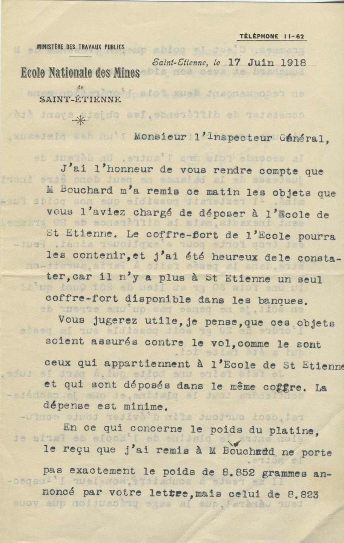 Lettre de Georges Friedel adressée à Gabriel Chesneau