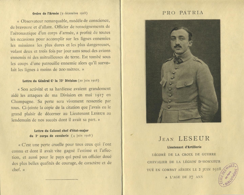 """Faire-part de décès de Jean Leseur, mort """"pro patria"""", 1918"""