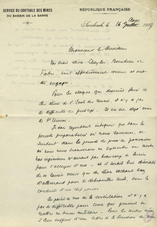 Lettre de Léon Daum à Gabriel Chesneau,16 août 1919