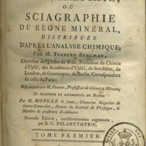 Manuel du minéralogiste ou Sciagraphie du règne minéral, distribuée d'après l'analyse chimique de T. Bergmann