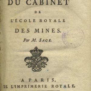 Description méthodique du cabinet de l'école royale des mines