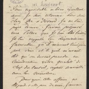 Lettre qui annonce avoir sollicité pour Gillet M. Berard.