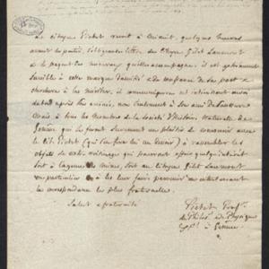 lettre de remerciements pour un envoi de minéraux, dont il va faire part à son ami M. de Saussure et la société d'histoire naturelle de Genève.