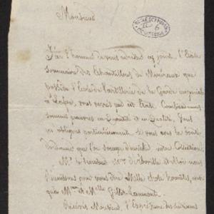 Lettre accompagnant l'envoi de l'état des échantillons des minéraux de l'École d'artillerie de la Garde impériale à La Fère