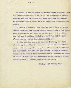 Avis sur l'éclairage de 1915