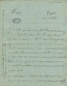 Lettre de Mme Lebreton Pignal à Gillet de Laumont, 6 août 1787.