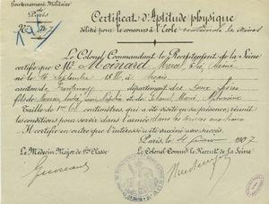 Certificat d'aptitude physique délivré pour le concours à l'Ecole nationale des mines, 4 février 1907