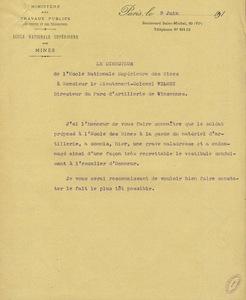 Lettre du directeur de l'Ecole nationale supérieure des mines à Monsieur le lieutenant-colonel Wilmet, directeur du parc d'artillerie de Vincennes