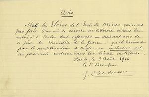 Avis, destiné aux élèves de l'Ecole nationale supérieure des mines, 3 août 1914