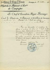 Lettre du chef d'escadron major Berruyer au directeur de l'Ecole des mines, 21 octobre 1914