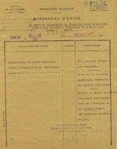 Lettre du ministère de la guerre à Gabriel Chesneau