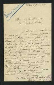 Lettre de Tonnerieux à M. le directeur de l'Ecole des mines, 8 juin 1916.