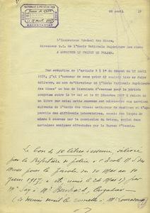 L'inspecteur général des mines, directeur par interim de l'Ecole nationale supérieure des mines à Monsieur le préfet de police, 25 avril 1917