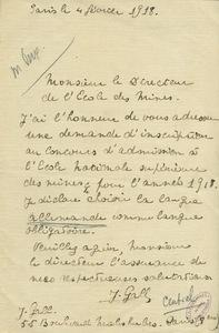 Lettre de J. Gall au directeur de l'Ecole des mines de Paris, 4 février 1918.