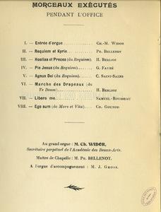 Programme d'office célébré en l'honneur des élèves de l'Ecole des mines de Paris morts pour la patrie en 1919.
