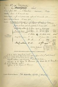 Registre des employés de l'Ecole des mines de Paris, états de service de Louis Coignac.