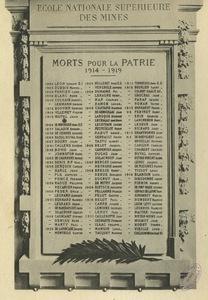 Plaque commémorative des morts pour la patrie, de l'Ecole nationale supérieure des mines, 1914-1919