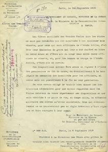 Copie d'une décision du président du Conseil, ministre de la Guerre, à M. le ministre de la Reconstitution industrielle, 1er septembre 1919