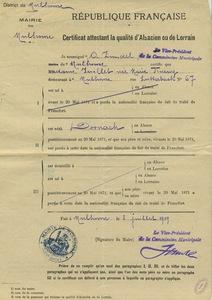 Certificat attestant de la qualité d'alsacien ou de lorrain de Marie Juillet, 8 juillet 1919