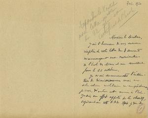 Lettre de Paul Courau à Gabriel Chesneau, 7 octobre 1920