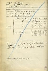 Registre des employés de l'Ecole des mines de Paris, états de service de Marie Collet.