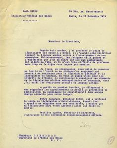 Lettre de Paul Weiss à Gabriel Chesneau, 11 décembre 1919