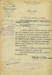Arrêté de nomination du professeur Vignal à l'Ecole des mines de Paris, 9 septembre 1920.