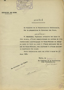 Arrête d'affectation de M. Granjean à l'école des mines de Paris, 12 février 1919