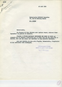 Lettre de Raymond Fischesser à G. Bottazzi, 27 août 1968