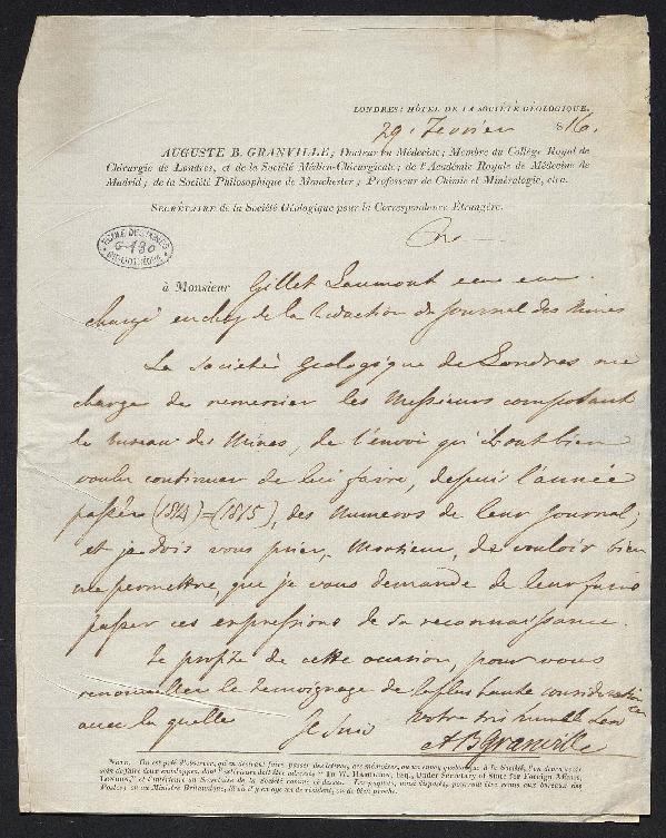 Lettre de remerciement pour l'envoi du journal des mines à la Société géologique de Londres