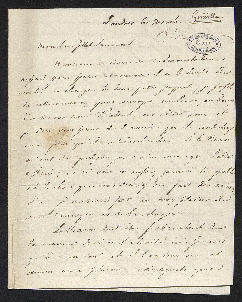 Lettre qui annonce l'envoi de deux paquets venant de Londres par l'intermédiaire du baron de Widmenstatten [ Alois Beck von Widmanstatten], qui a voyagé à Londres.