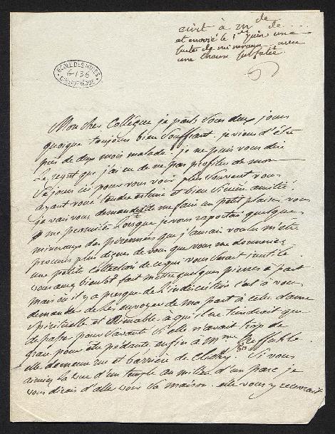 Il demande à Gillet de lui mettre de coté quelques minéraux des Pyrénées (que celui-ci lui avait ramené) pour les faire porter à une dame, Mme Greffahle [ à vérifier