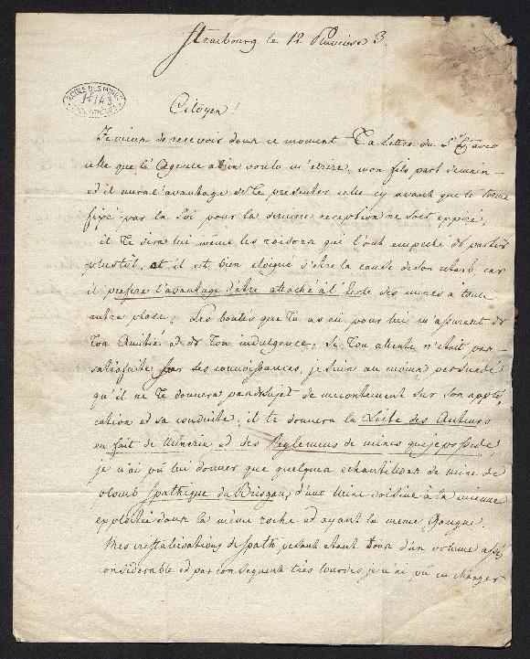 Lettre écrite de Strasbourg où il parle de son fils qu'il envoie à Paris pour être élève de l'école des mines