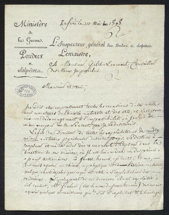 Lettre de recommandation pour un jeune homme, M. Foulon, qui voudrait suivre les cours de l'École des mines.