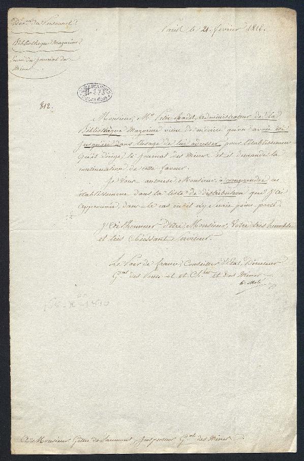 Lettre de demande pour que l'administrateur de la bibliothèque Mazarine continue de recevoir le Journal des mines.
