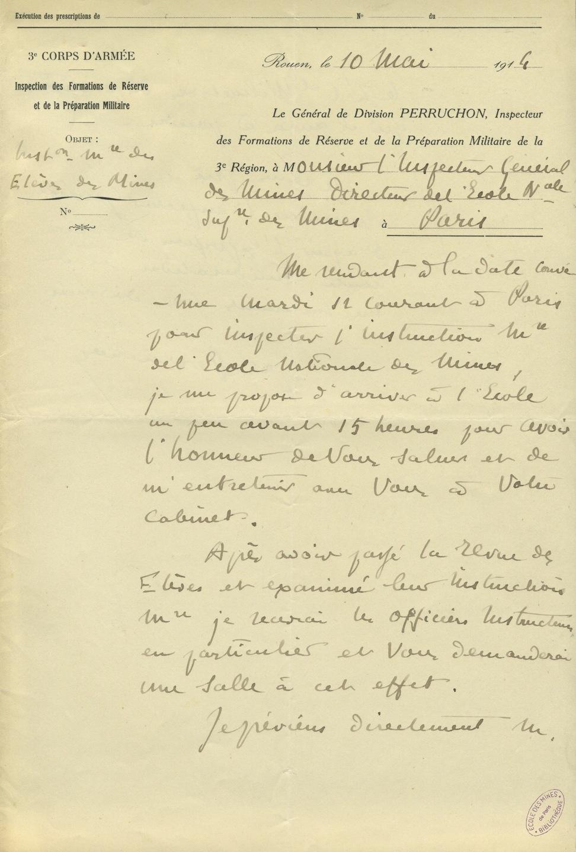 Lettre du Général Perruchon à Monsieur l'Inspecteur des mines directeur de l'Ecole nationale supérieure des mines à Paris, 10 mai 1914
