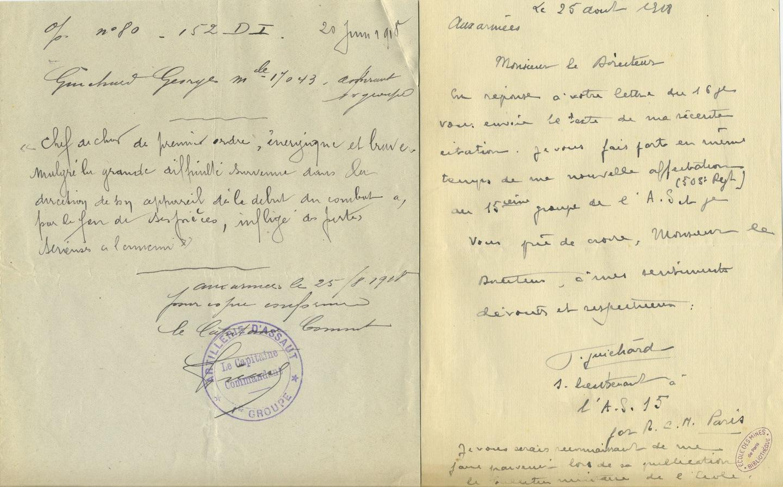 """Lettre de Georges Guichard, """"aux armées"""", au directeur de l'Ecole des mines de Paris, 25 août 1918."""