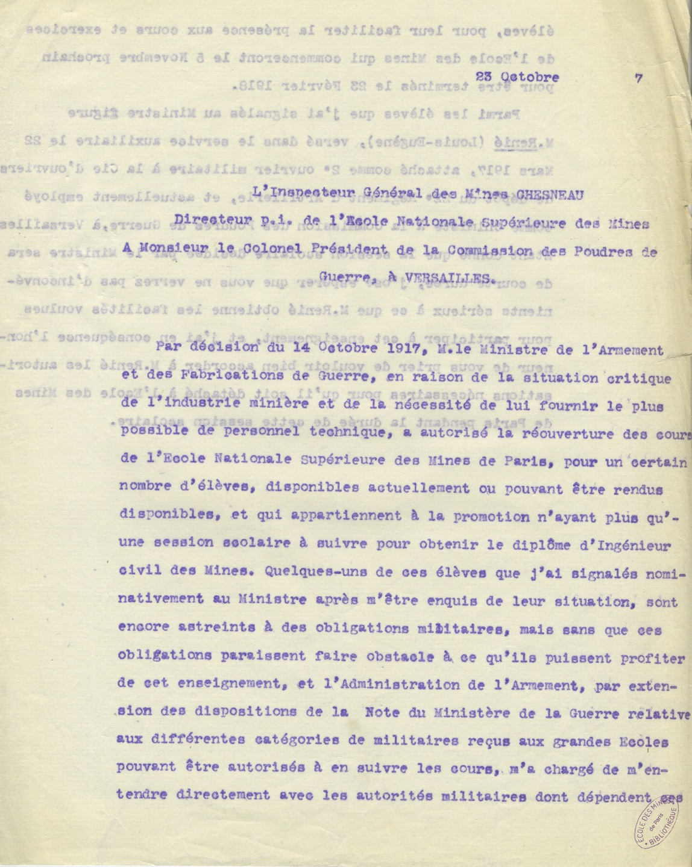 Lettre de Gabriel Chesneau au colonel président de la Commission des poudres de guerre, 23 octobre 1917