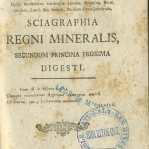 Sciagraphia regni mineralis, secundum principia proxima digesti