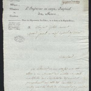 Lettre annonçant l'envoi d'une note relative à un instrument pour l'exploitation des mines de houille