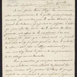 Lettre où il est question d'un échange du Journal des mines avec le Journal de Médecine(Londres) et qui est refusé.