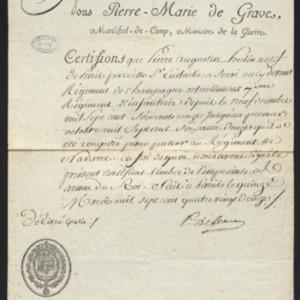 Envoi du certificat militaire de service de Pierre Augustin Hutin