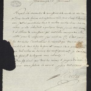 Lettre adressée au citoyen Cavillier, résumant la lettre envoyée à Gillet sur l'affaire de la concession de Wasselone [Alsace]