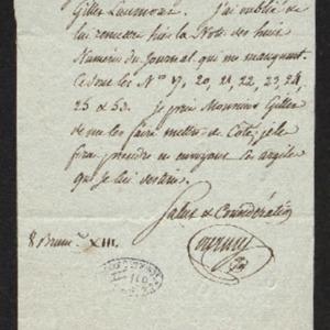 Lettre pour réclamer 8 numéros manquants à sa collection du Journal des mines. Annonce l'envoi d'argiles.