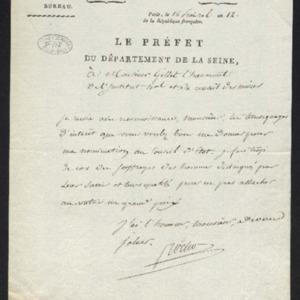 Lettre de remerciement à Gillet qui a salué sa nomination au Conseil d'Etat.