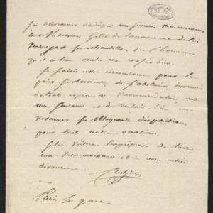 Lettre de remerciement pour lui avoir confié des échantillons deMaurienne et demande de recommandation à Gillet.