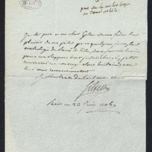 Lettre pour demander le prêt de l'ouvrage de Romé de l'Isle: «la métrologie»