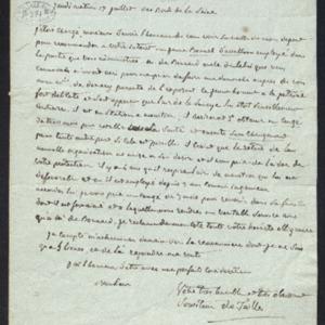 Lettre de sollicitaion pour le jeune ingénieur des mines Bonnel d'Avalllon, qui aurait besoin d'un congé de santé.